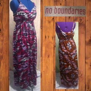 No Boundaries Pink & Black Maxi Sundress